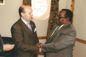 President Anton Caragea and Senior Minister S.K.Moyo-web