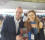 President Prof.Dr. Anton Caragea poze for a photo with Paula Klachko-the author of the famous social book Desde Abajo, DesdeArriba-web