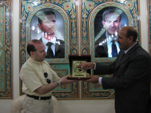 Professor Anton Caragea receives Quneitra Medal from Governor of Quneitra Heroe City