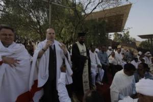 European Council President Dr. Anton Caragea speking to the people of Lalibela